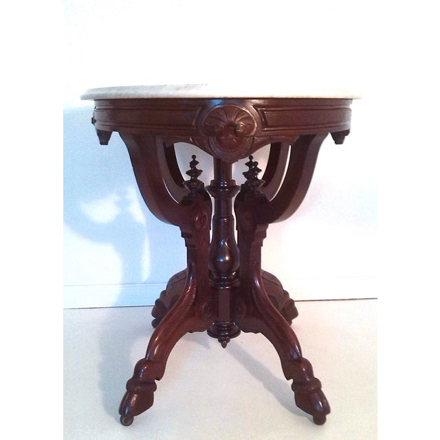 American Classical Ornate Mahogany and Marble Top Occasional or Centre Table For Sale - Image 3 of 5