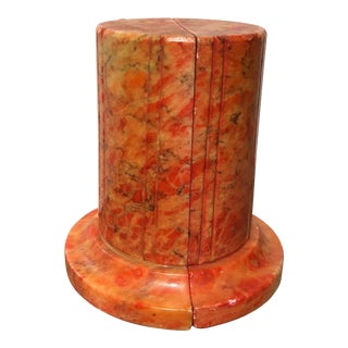 1970s Mid-Century Modern Orange Marble Bookends - 2 Pieces For Sale