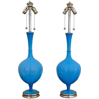 1950s French Marbro Blue Swedish Glass Lamps - a Pair