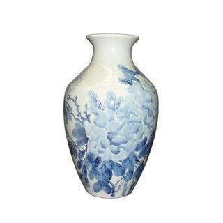 Porcelain Hand Brushed Vase, Blue & White Flowers For Sale