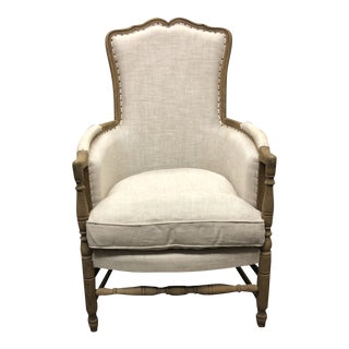 Restoration Hardware 18th C. French Upholstered Bergere Chair For Sale