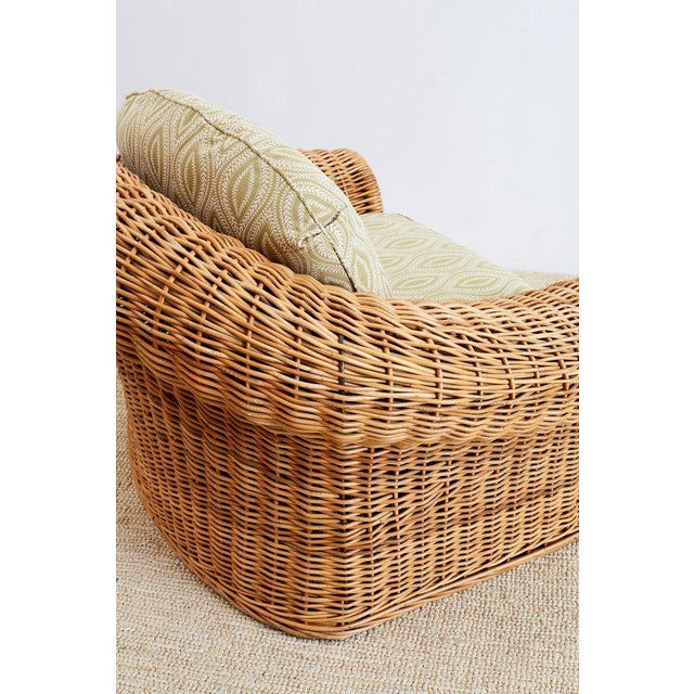 Michael Taylor Style Wicker Lounge Chairs and Ottomans For Sale - Image 10 of 13