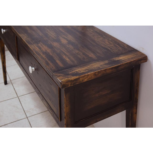 Brown 1990s Danish Modern Alden Parkes iReclaimed Wood Sofa/Console Table For Sale - Image 8 of 10