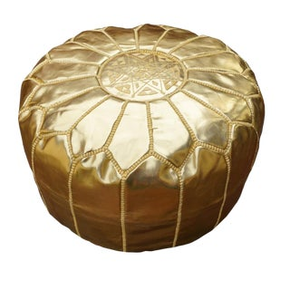 Modern Gold Moroccan Handmade Leather Pouf For Sale