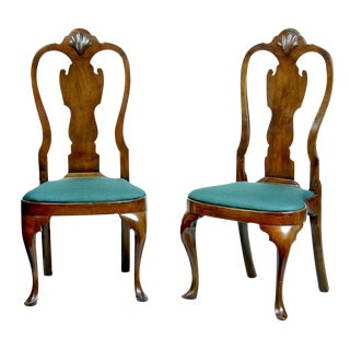 Pair of Walnut Queen Anne Side Chairs with Shell