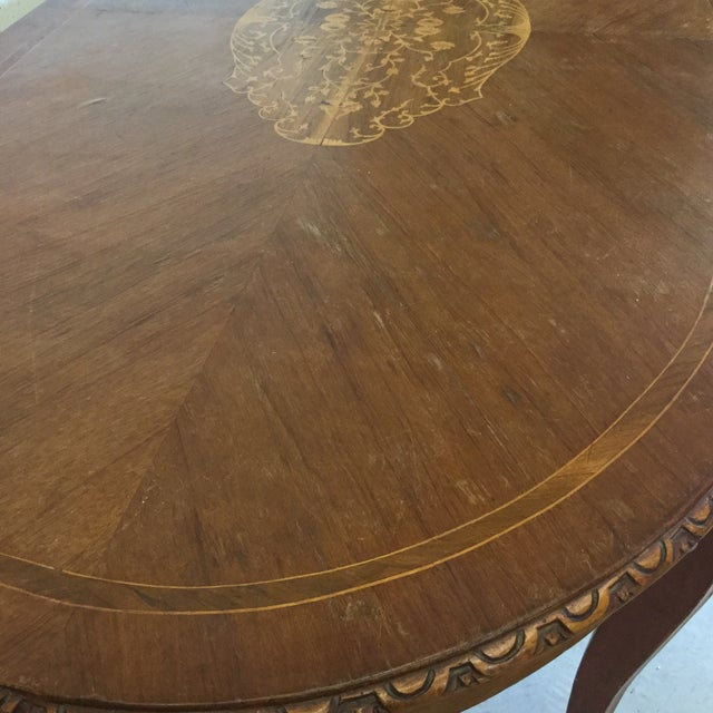 Brown French Inlaid Ormolu Dining Table Desk For Sale - Image 8 of 13