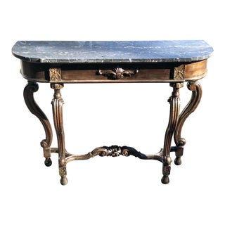 1920s French Regency Style Marble Top Console Table For Sale