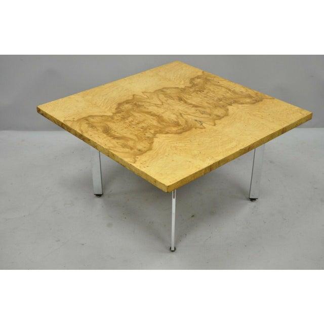 Milo Baughman Mid Century Modern Burl & Chrome Burlwood Square Coffee Table For Sale - Image 9 of 10