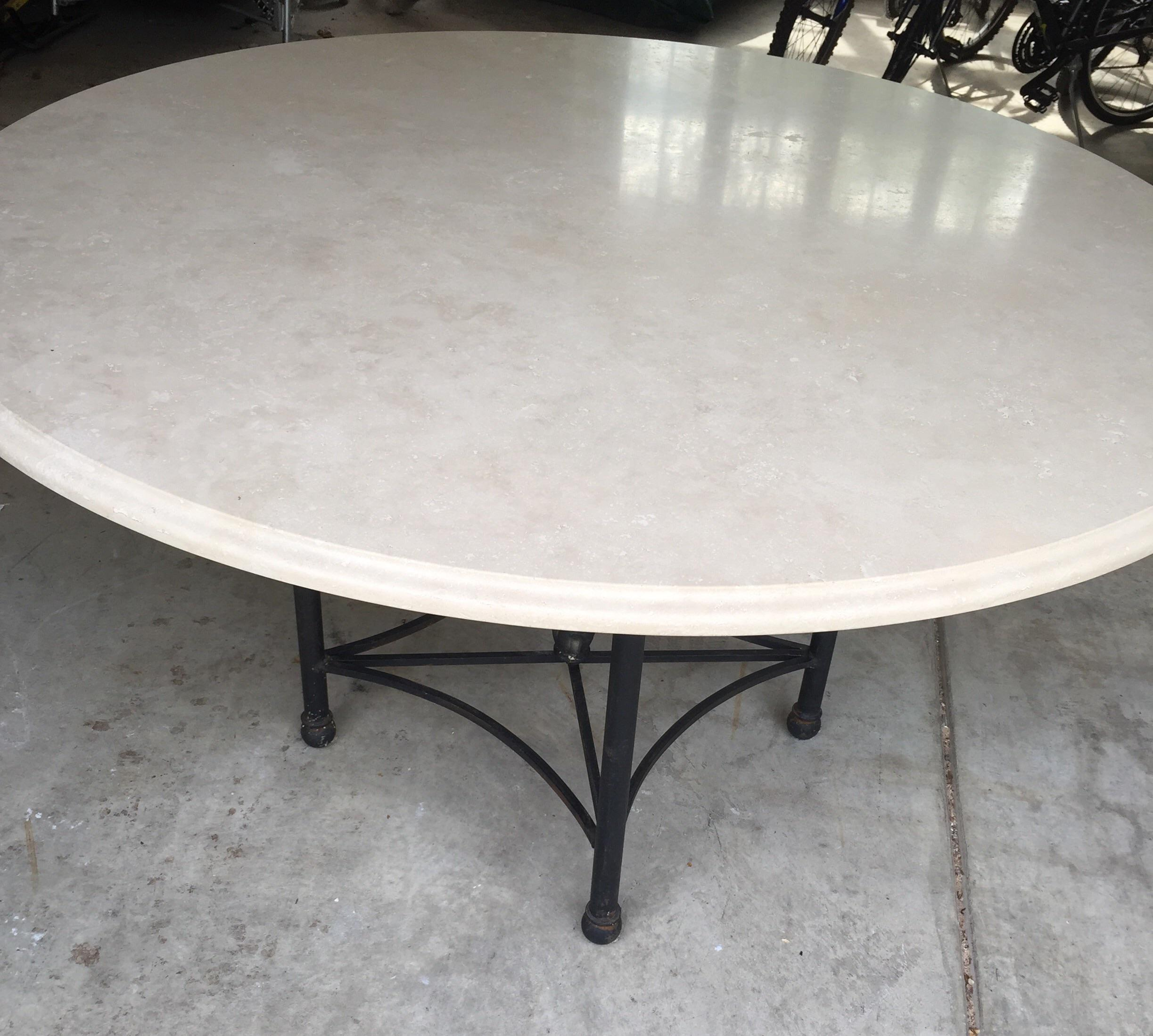 stone patio table. Round Travertine Stone Patio Table - Image 3 Of 5 D