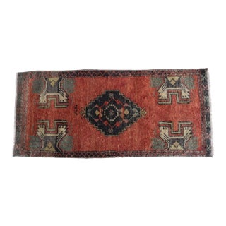 Hand Knotted Small Oushak Rug Distressed Low Pile Small Area Rug Bath Mat Faded Yastik Rugs 1′6″ × 3′5″ For Sale