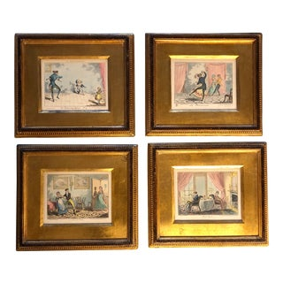 Antique Set 4 Original Hand Colored Etching Interior Scenes Gilt Frames For Sale