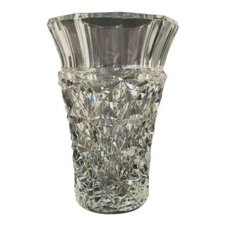 French Mid-Century Baccarat Cut Crystal Vase For Sale