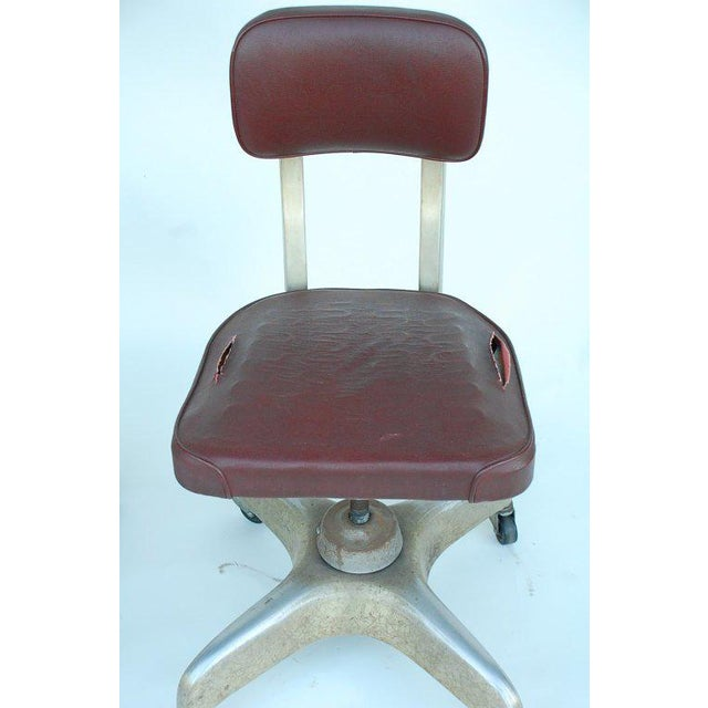 Pair of Aged Industrial Office Swivel Chairs For Sale In Los Angeles - Image 6 of 7