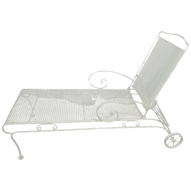 Metal Russell Woodard Iron Mesh Steel Outdoor Chaise Lounge For Sale - Image 7 of 7