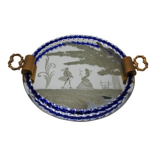Vintage Venetian Mirrored Tray For Sale