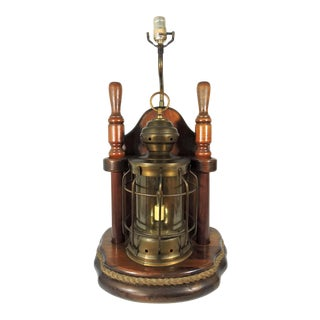 Vintage Mid 20th Century Nautical Ships Lantern Brass & Mahogany Table Lamps With 'Flickering Candle' For Sale