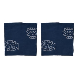 Countryside Fish Napkins, Indigo - A Pair For Sale
