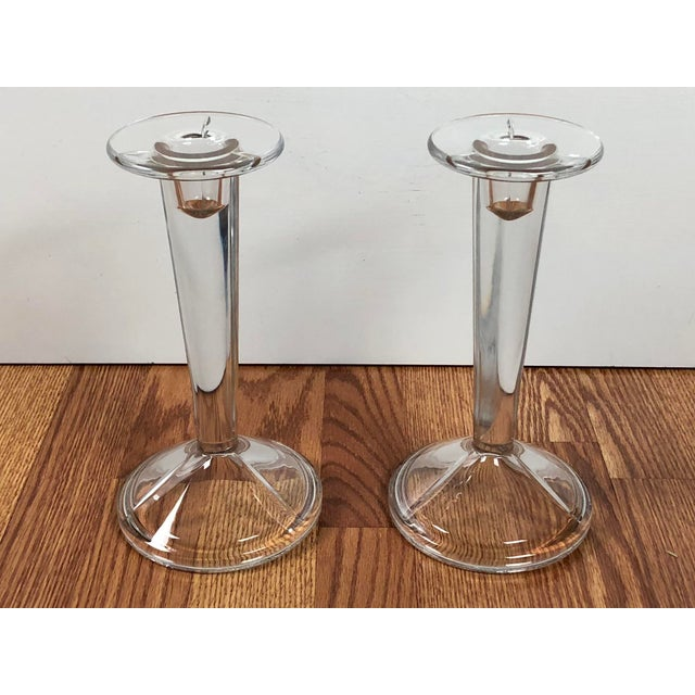 Art Deco Minimalist Solid Clear Glass Candle Holders - A Pair For Sale - Image 3 of 7