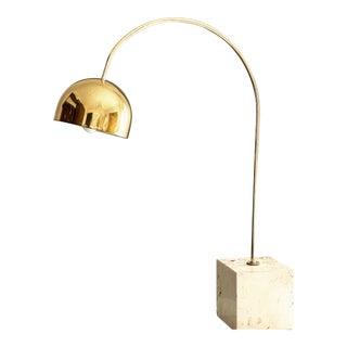 1960s Italian Travertine & Brass Arc Table Lamp by Harvey Guzzini For Sale