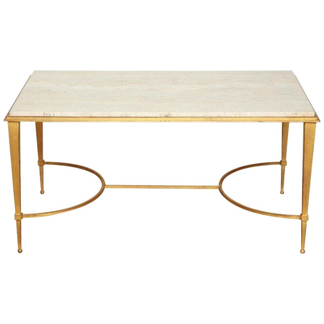 French Midcentury Gilt Iron Coffee Table With Travertine Top by Masion Ramsay For Sale