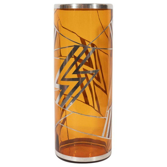 Art Deco Brown Topaz Glass Vase With Geometric Cubist Sterling Silver Overlays For Sale In New York - Image 6 of 6