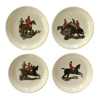 Mid-Century Porcelain Equestrian Scenes Trays - Set of 4 For Sale