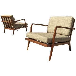 Mel Smilow Mid-Century Modern Walnut Lounge Chairs - a Pair For Sale