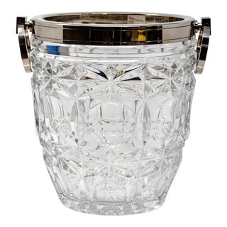 French Heavy Cut Crystal and Sterling Ice Bucket For Sale