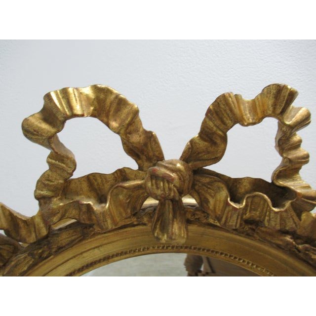 Glass Vintage French Regency Gold Gilt Oval Hanging Wall Mirror For Sale - Image 7 of 13
