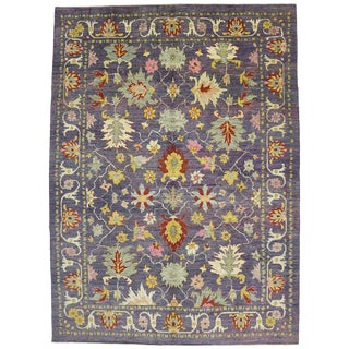 "Colorful Contemporary Turkish Oushak Rug - 11'4"" X 15'6"" For Sale"