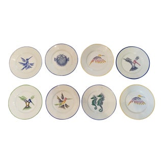 1980s Limoges Painted Plates - Set of 8 For Sale