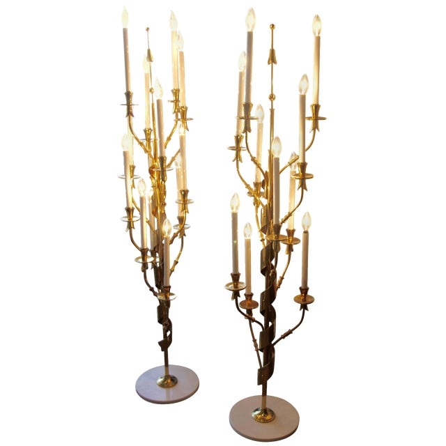 Stilnovo Brass Candelabra Floor Lamps With Marble Bases - a Pair For Sale