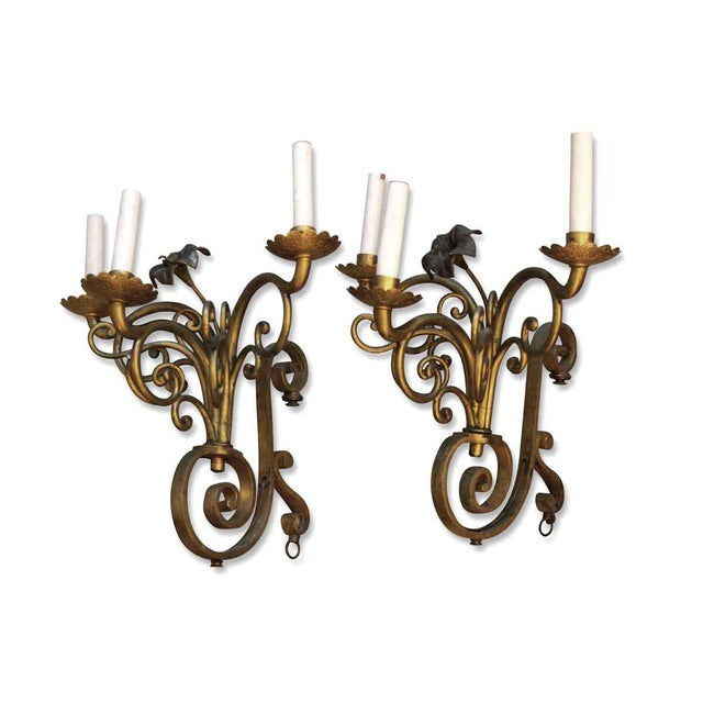 Metal Golden Bronze Three Light Sconces - a Pair For Sale - Image 7 of 7