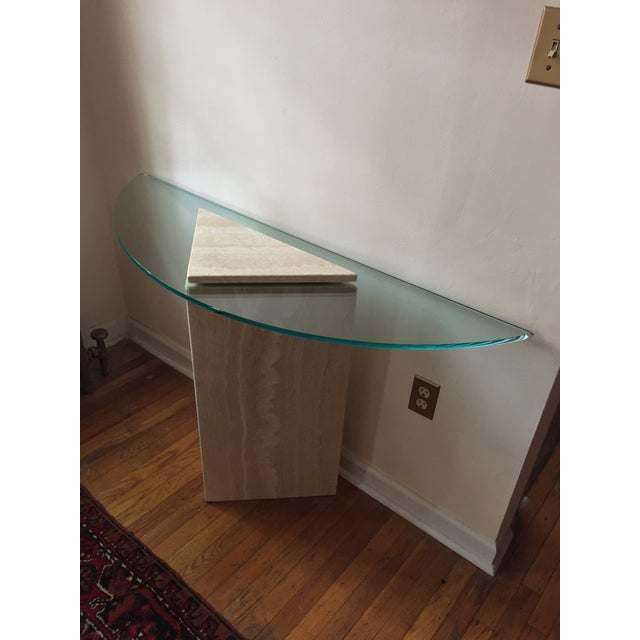 1980s Postmodern Geometric Travertine and Glass Console Table For Sale In Philadelphia - Image 6 of 11