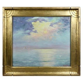 Framed Oil on Board by Charles Edward Hallberg of One of the Great Lakes For Sale