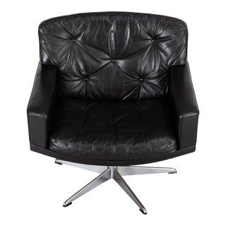 Black Leather Mid-Century Modern Swivel Chair by Lystager, 1960s For Sale