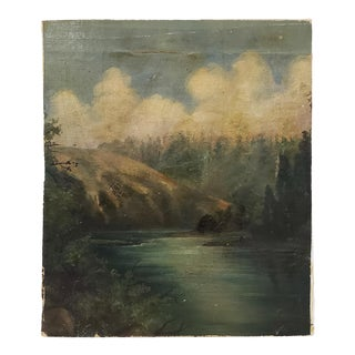 19th Century Hudson River School Landscape Oil Painting For Sale