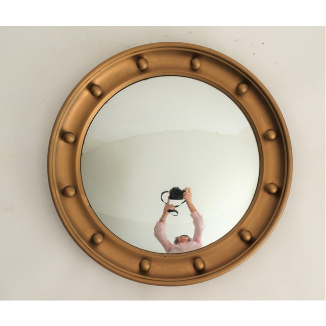 Wood English Convex Round Bullseye Mirror For Sale - Image 7 of 7