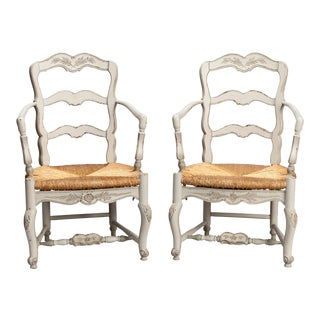 French Pair Carved and Painted Armchairs with Woven Rush Seats