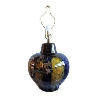 Vintage Mid-Century Ceramic Drip Glaze Silver Overlay Lamp For Sale