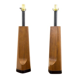 Maurizio Tempestini for Laurel Mid-Century Modern Wood Table Lamps - a Pair For Sale