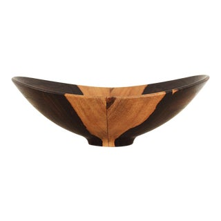 Vintage Bookmatched Studio Craft Decorative Cocobolo Wood Bowl For Sale