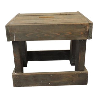 Rustic Primitive Style Artisanal Rectangular Step Stool For Sale