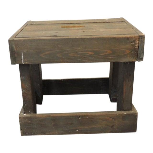Rustic Primitive Style Artisanal Rectangular Step Stool For Sale
