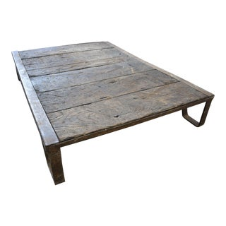 Antique Industrial Iron and Oak Wood Slat Train Skid Decor Table For Sale