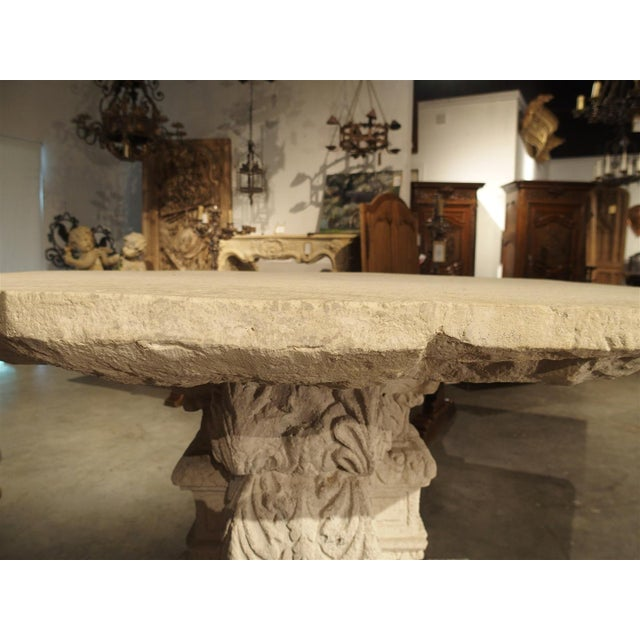 French Rare Period Renaissance Carved Stone Table from the South of France, 1570 For Sale - Image 3 of 10
