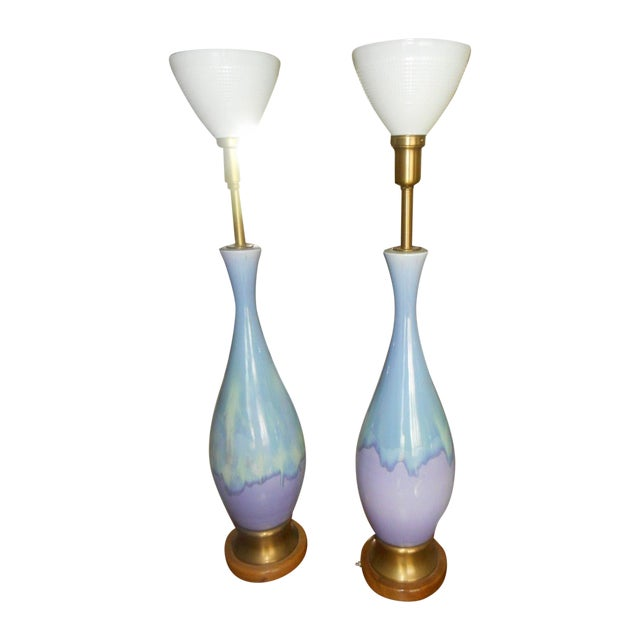 Mid Century Modern Volcano Drip Table Lamps - Pair - Image 1 of 9