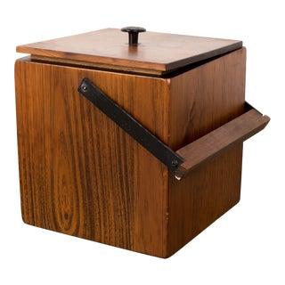 1960s Vintage Danish Wooden Ice Bucket For Sale