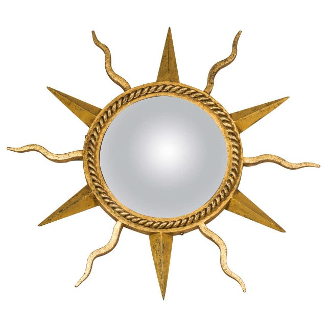 Gilbert Poillerat Convex Starburst Wall Mirror For Sale In San Francisco - Image 6 of 6