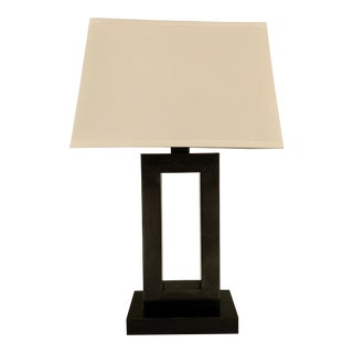 Modern Bronze Table Lamp With Restoration Hardware Silk Shade For Sale